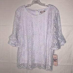 Nanette Lepore White Lace Spring Fling Top NWT
